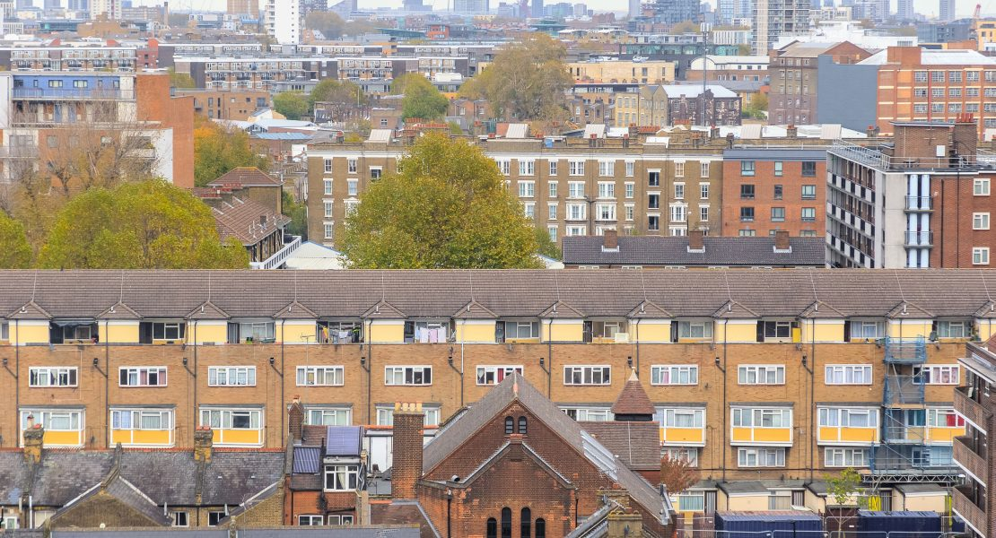 Aerial view of residential area in London, UK