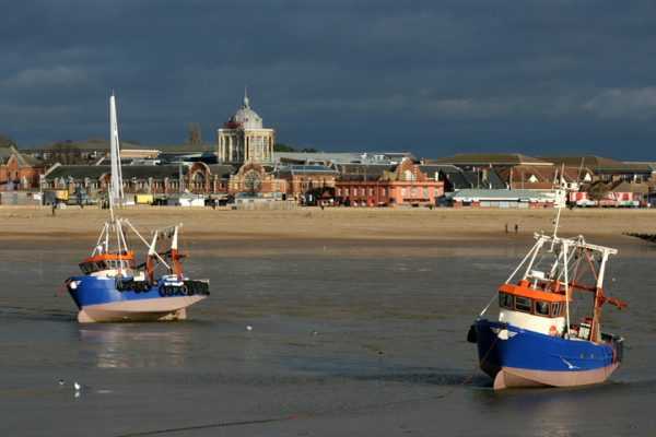 Fishing boats at low tide, Southend on Sea, Essex