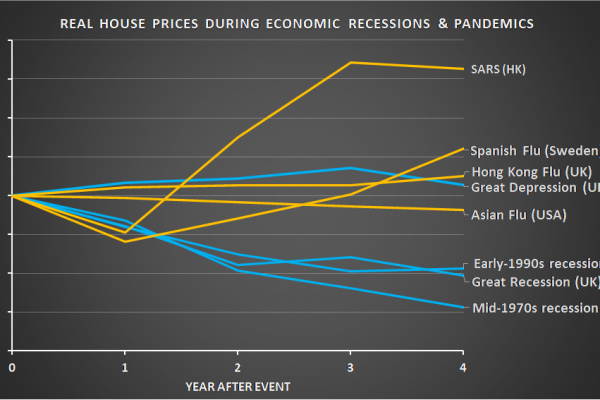 Real average house price changes during economic recessions and flu pandemics